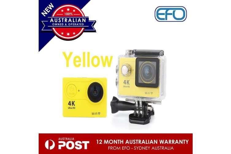 Hot H9 Wifi Sport Action Camera Dv 4K Ultra Hd Spca6350 Hdmi 2 Inch Lcd Yellow