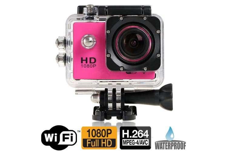 "Full Hd 1080P Sports Dv Camera 30M Waterproof + Wifi 1.5"" Lcd Mount Pink"