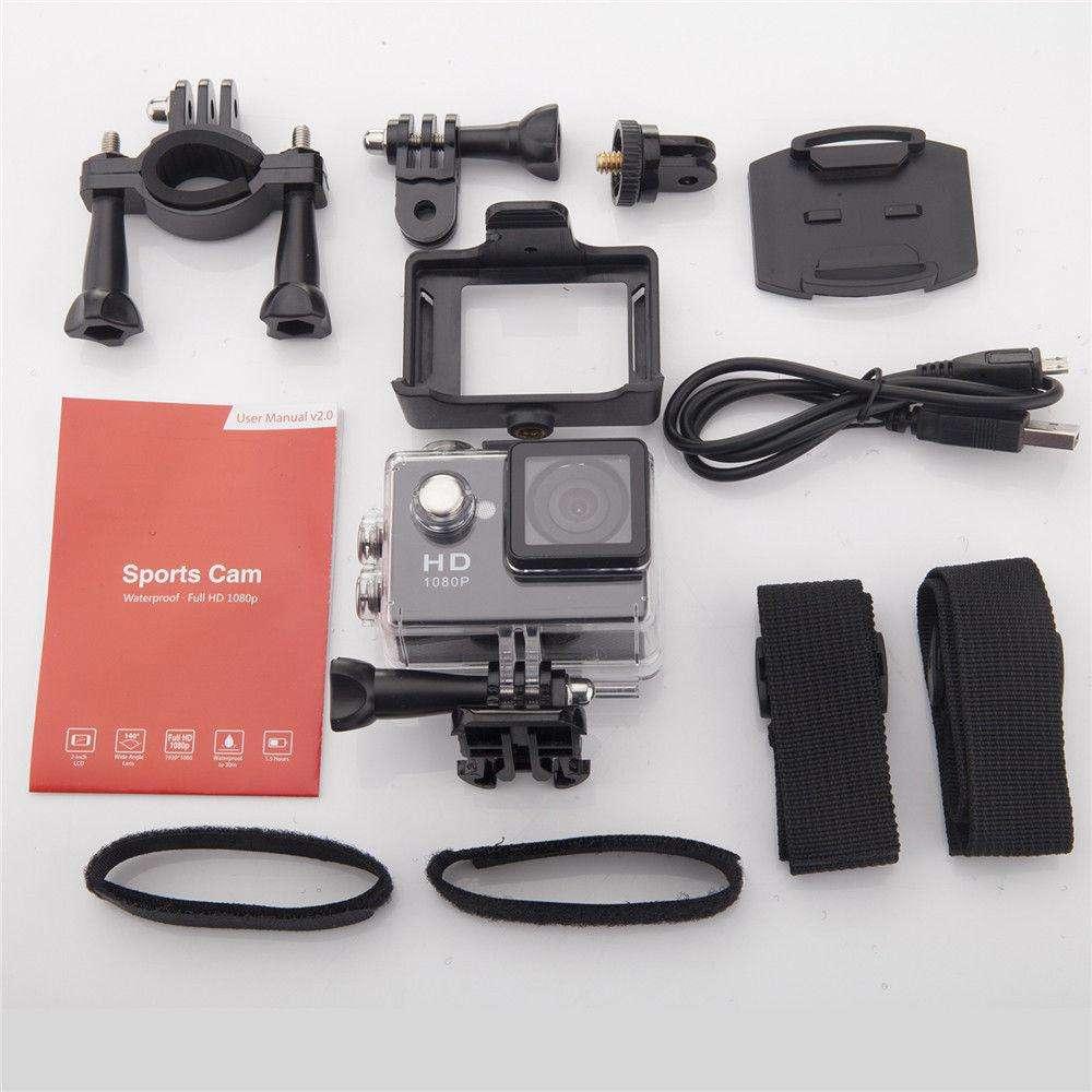 1080P Full Hd Sports Camera 30M Waterproof Loop Rec A9 Action Camera - Yellow