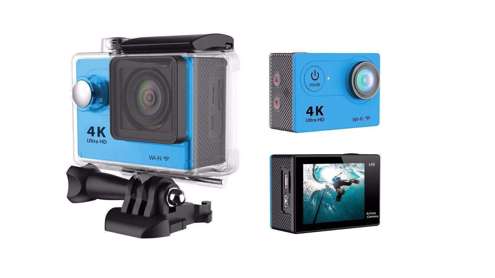 "4K Ultra Hd Sports Camera 30M Waterproof 2"" Lcd H9 Action Camera - Black"