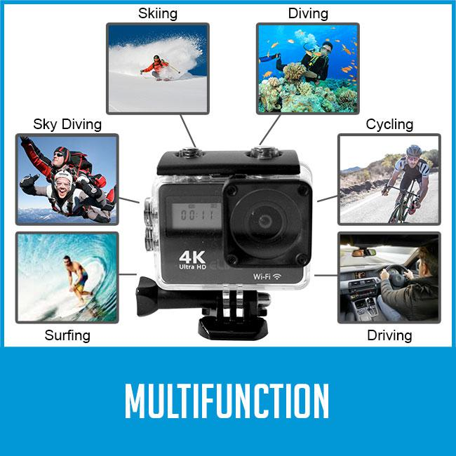 Elinz 2.0 Action Sports Camera Wifi 4K/30FPS UHD Touch Screen Dual 16MP Remote Control