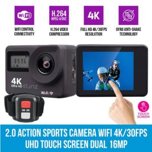 Elinz 2.0 Action Sports Camera Wifi 4K/30FPS UHD Touch Screen Dual 16MP Remote Control - Kid's Camera Co.jpg