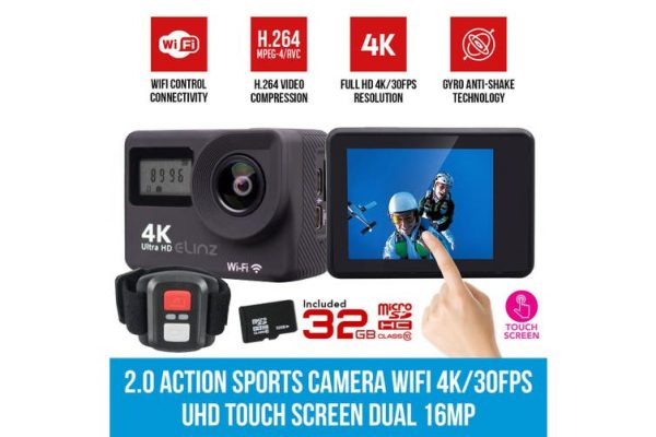 Elinz 2.0 Sports Action Camera 4K/30FPS Touch Screen Dual UHD 16MP Remote Control 32GB - Kid's Camera Co.jpg